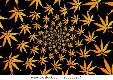 Golden marijuana leaves - vector pattern , Cannabis plant background