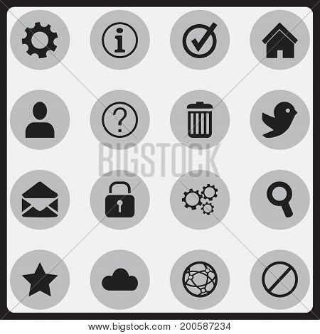 Set Of 16 Editable Network Icons. Includes Symbols Such As Settings, Dove, Quiz And More