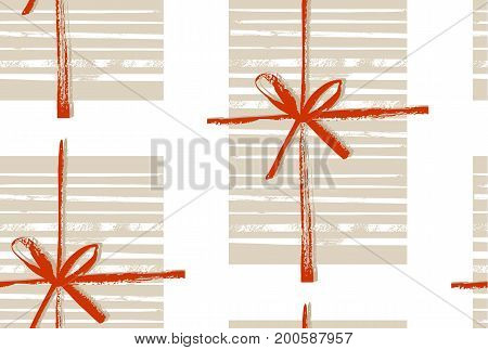 Hand made vector abstract Merry Christmas decoration seamless pattern with gift boxes and bow isolated on white background.Design for greeting, decoration, wrapping paper, fabric, journaling, decoration