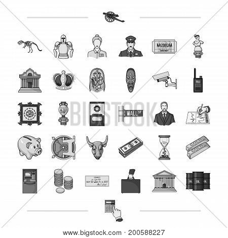 , history, travel, entertainment and other  icon in black style., waste, calculator, hand, icons in set collection.