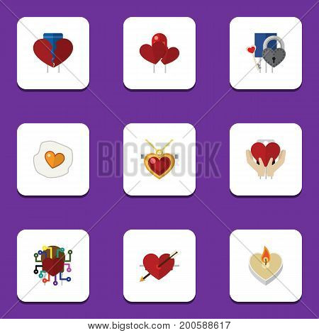 Flat Icon Love Set Of Divorce, Save Love, Heart And Other Vector Objects