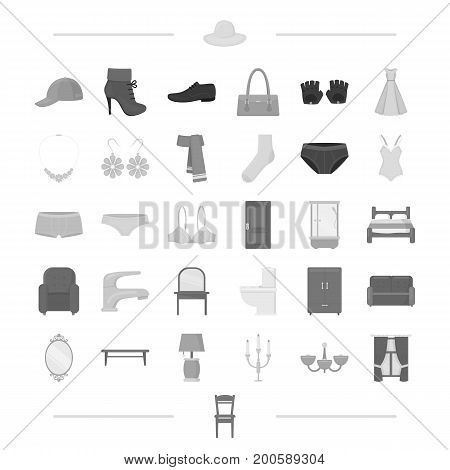 leather, costume jewelery and other  icon in black style.textiles, accessories, knitwear, icons in set collection.