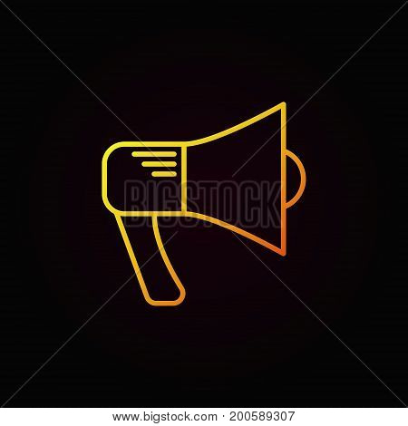Megaphone yellow icon. Vector loudspeaker linear symbol or announcement concept logo element on dark background