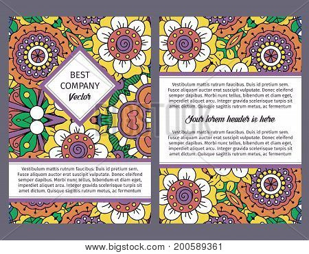 Brochure design template for company with colorful ornamental vintage floral decorative pattern