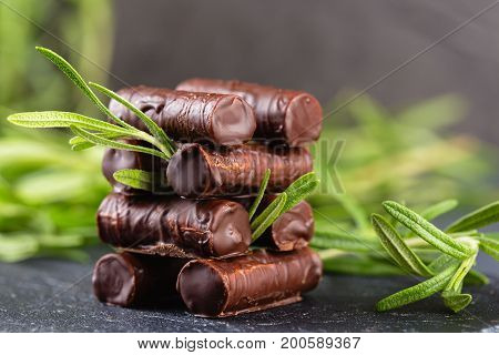 Homemade Chocolate Candy Sticks With Rosemary