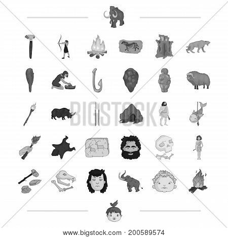 neolithic, prehistoric, hunting and other  icon in black style. mining, drawing, weapons icons in set collection.
