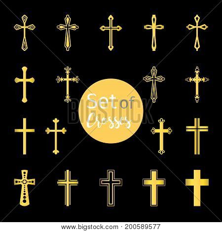 Vector christian crosses signs in golden color
