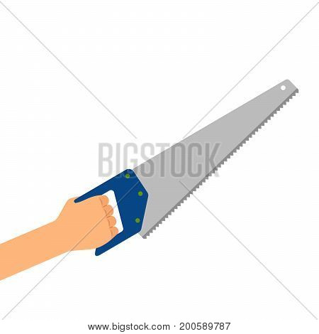 Hand with saw isolated on the white background, vector flat illustration