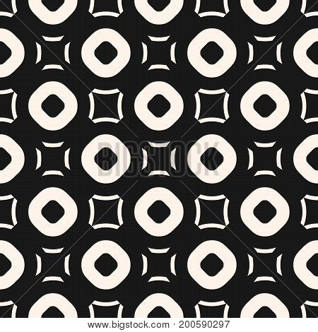 Funky geometric pattern. Vector seamless texture with simple geometrical shapes, hollow circles, outline squares. Stylish monochrome abstract background, repeat tiles. Modern dark design for decor.