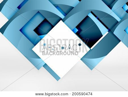 Squares geometric object in light 3d space, abstract background