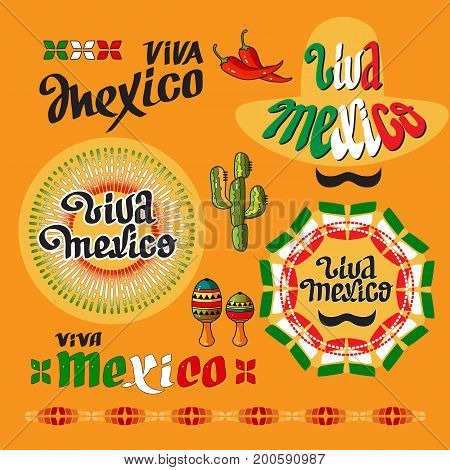 Viva Mexico icon. Set of cute various mexican icons isolated on yellow background. Cartoon maraca, cactus, pepper and handwritten words.