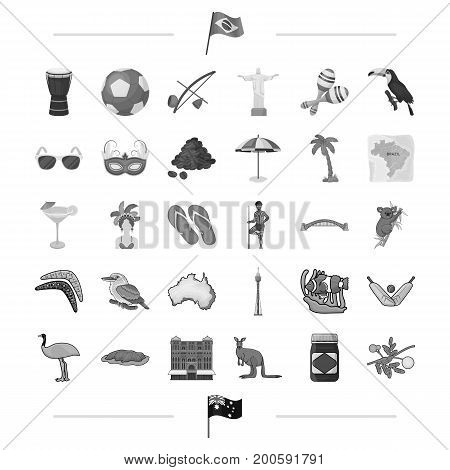 national, tradition, art and other  icon in black style.animal, travel, Carnival icons in set collection.