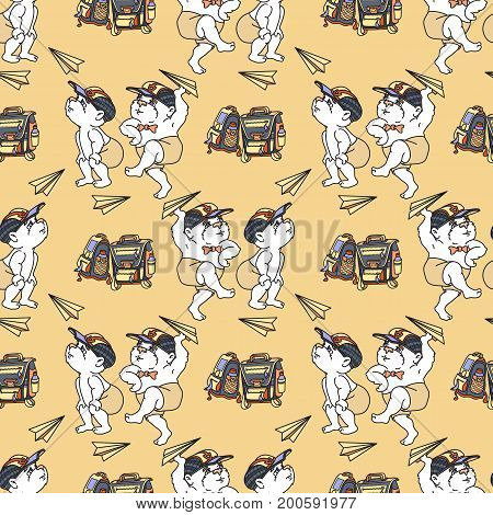 Bears and paper airplane on light  background. Vector Seamless pattern.  Cute bear and satchel.