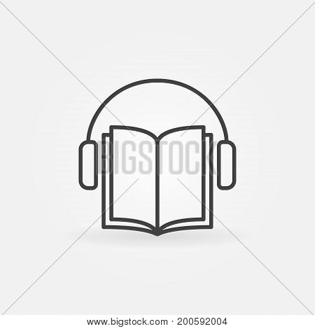 Audiobook vector icon. Headphones with book concept symbol or design element in thin line style