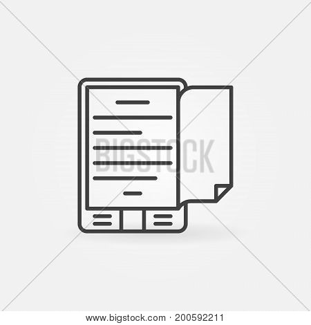 Ebook reader concept icon or symbol in thin line style