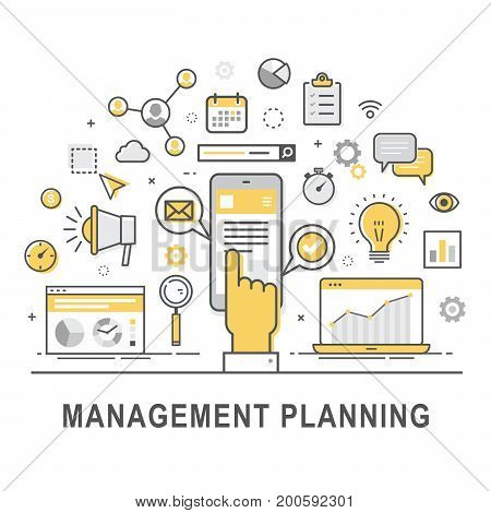 Management planning. Time management and control concept for successful business. Illustration of forecasting developing and marketing of product. Concept of product management. Vector set of icons.