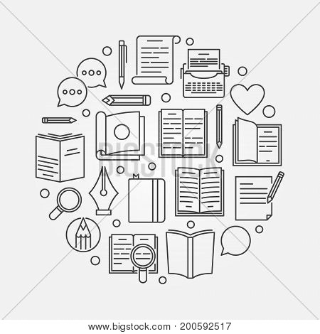 Reading or literature circular illustration - vector round symbol made with book icons in thin line style