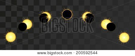 Solar Eclipse phases in dark sky. Vector illustration on transparent background