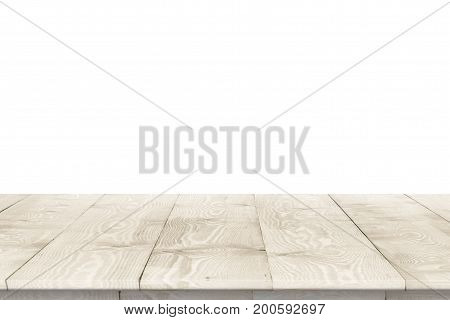 Wooden tabletop perspective for product placement or montage with focus to table. Wooden board surface.