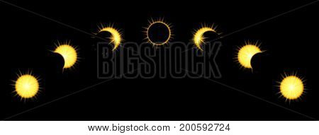 Solar Eclipse phases in dark sky. Vector illustration