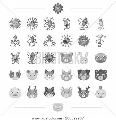 The virus, bacteria, disease and other  icon in monochrome style. Domestic and wild animals icons in set collection.