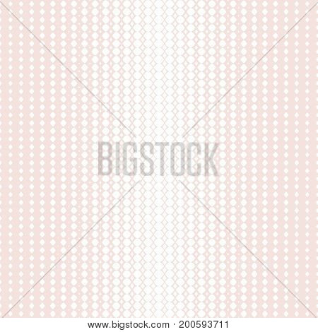 Vector halftone seamless pattern with mesh lattice. Romantic fashionable texture in soft pastel colors pink & white. Abstract geometric background. Design element for decoration, wedding, parties.