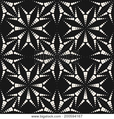 Flower pattern with dotted floral shapes, asters. Subtle geometric background. Stylish monochrome texture, repeat tiles. Illustration of fireworks burst. Design pattern, textile pattern, digital pattern, web pattern, decor pattern, fabric pattern.