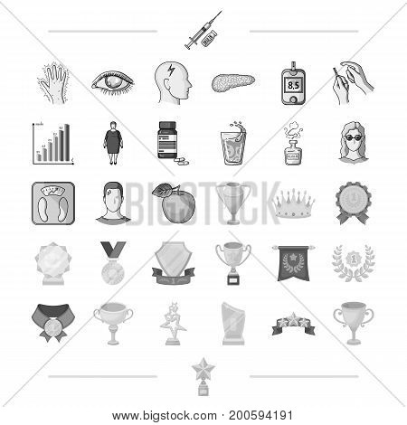 diet, treatment, business and other  icon in monochrome style.sign, victory, award, icons in set collection.