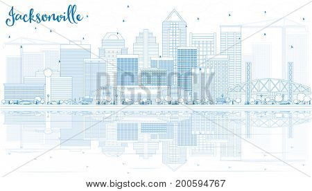 Outline Jacksonville Skyline with Blue Buildings and Reflections. Business Travel and Tourism Concept with Modern Architecture. Image for Presentation Banner Placard and Web Site.