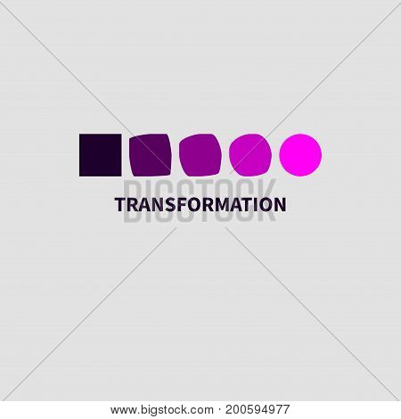 Logo coaching development. Icon personal growth training. Square turns into circle. Vector illustration.