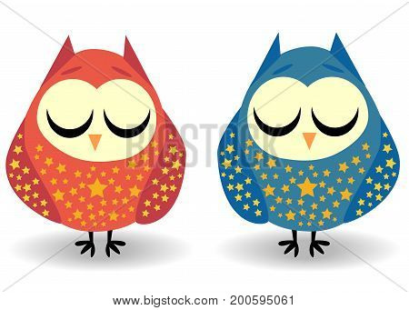 A Pair Of Owls With Closed Eyes Sleeping In Sprockets. Drawing For A Cup, Decoration, Postcard. Past