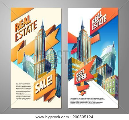 Set of vector cartoon illustrations, banners, urban backgrounds with modern big city buildings, skyscrapers, business centers and space for your text. Advertising posters for sale of real estate.