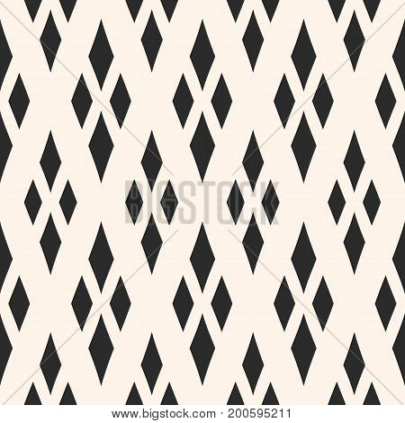 Vector geometric texture with rhombuses. Diamonds seamless pattern. Abstract monochrome ornamental background, traditional motif, argyle pattern. Design for fabric, furniture, textile, pillows. Rhombus pattern, design pattern, ornamental pattern.