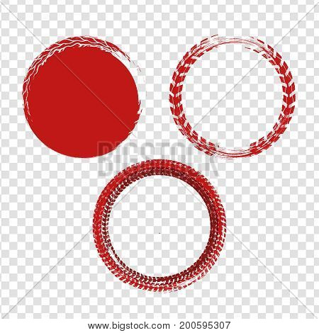 Grunge off-road stamp shaped elements. Automotive collection useful for banner, quality sign, logo, label and badge design . Tire tracks vector illustration in red colour on a transparent background.