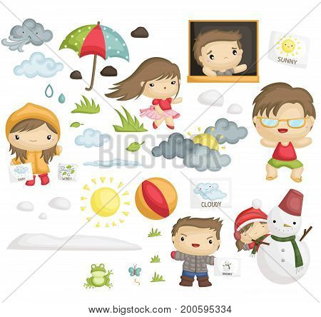 a vector set of kids in many season