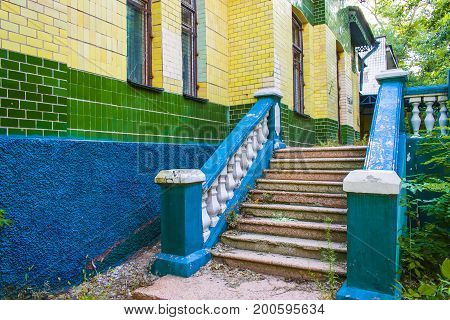 Abandoned building. The old building is an abandoned staircase bright