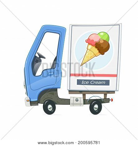Small Truck refrigerator for delivery ice cream. Lorry with blue cabin. Cartoon auto Freezer. Transport. Isolated white background. Vector illustration.