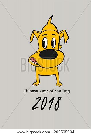 2018 Happy New Year greeting card. Yellow dachshund in cartoonish style on a light grey background. 2018 Chinese New Year of the dog. Vector illustration
