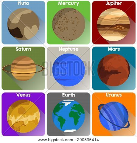 Planet icon set in many different colors