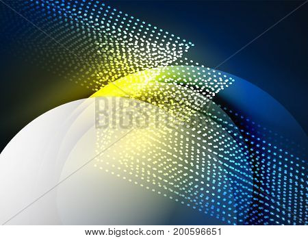 Glowing wave created with particles on dark color background. digital techno illustration