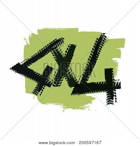 Grunge tire track 4x4 letters. Unique off road isolated lettering in green colours on white background. Vector illustration.