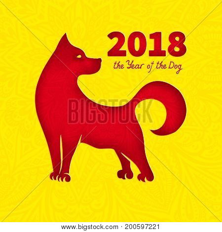 Dog is a symbol of the 2018 Chinese New Year. Paper cut art and Doodle style. Design for greeting cards calendars banners posters invitations.