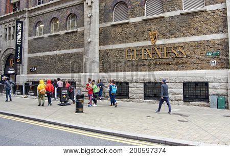 DUBLIN IRELAND - AUGUST 3 2017 : Guinness Storehouse in Dublin. Guinness Storehouse is a tourist attraction at St. James's Gate Brewery in Dublin Ireland.