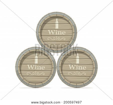 Wine wooden barrel. Isolated white background. Vector illustration.