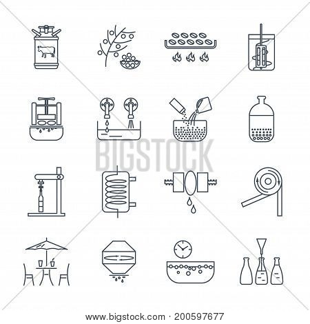 set of thin line icons drinks and beverages production process