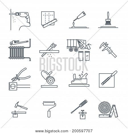 set of thin line icons home repair construction renovation tool