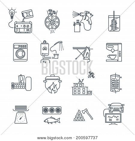set of thin line icons household appliances electrical equipment machine