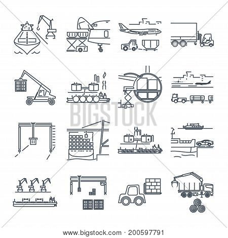 set of thin line icons loading and unloading of goods handling warehousing