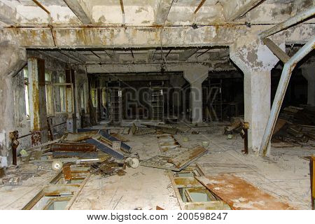 The looted command post of the secret military unit of the PRO of the USSR. Dead military unit. Consequences of the Chernobyl nuclear disaster August 2017.