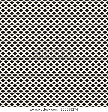Rhombuses seamless pattern. Vector geometric texture with horizontal diamond shapes, small lozenges. Simple abstract monochrome background. Modern design for decor, fabric, textile, cloth, embossing.